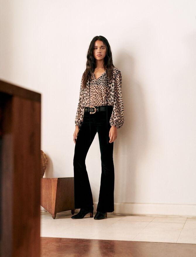 Pantalon évasé en velours - Pantalons & Jeans - MAJE