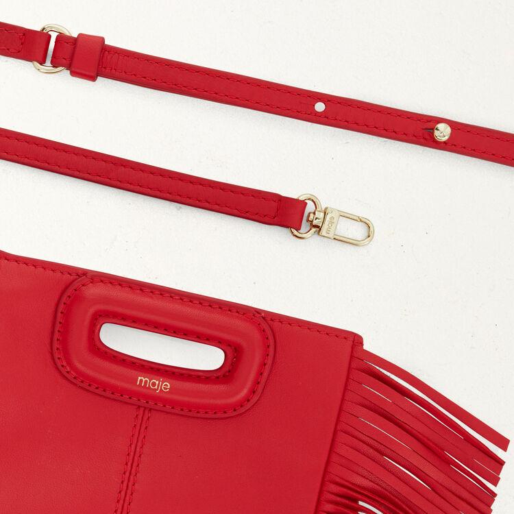 Sac M Mini en cuir avec chaîne : M Mini couleur ROUGE