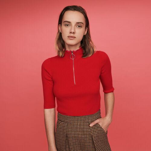Pull fin zippé à col montant fantaisie : Pulls & Cardigans couleur Rouge