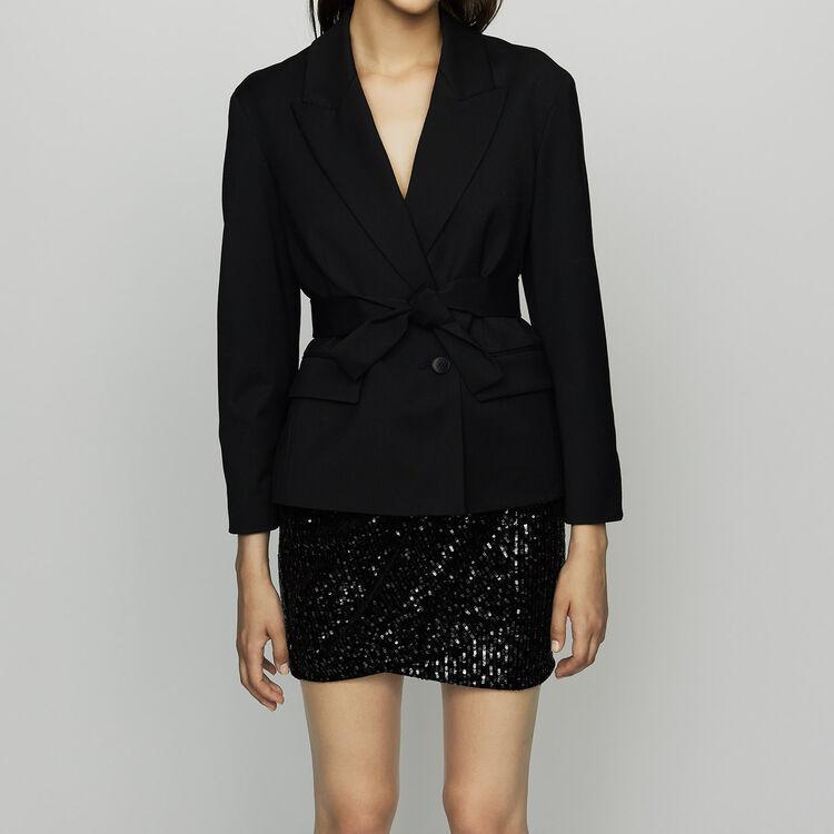 Veste courte en laine vierge : Vestes couleur Black