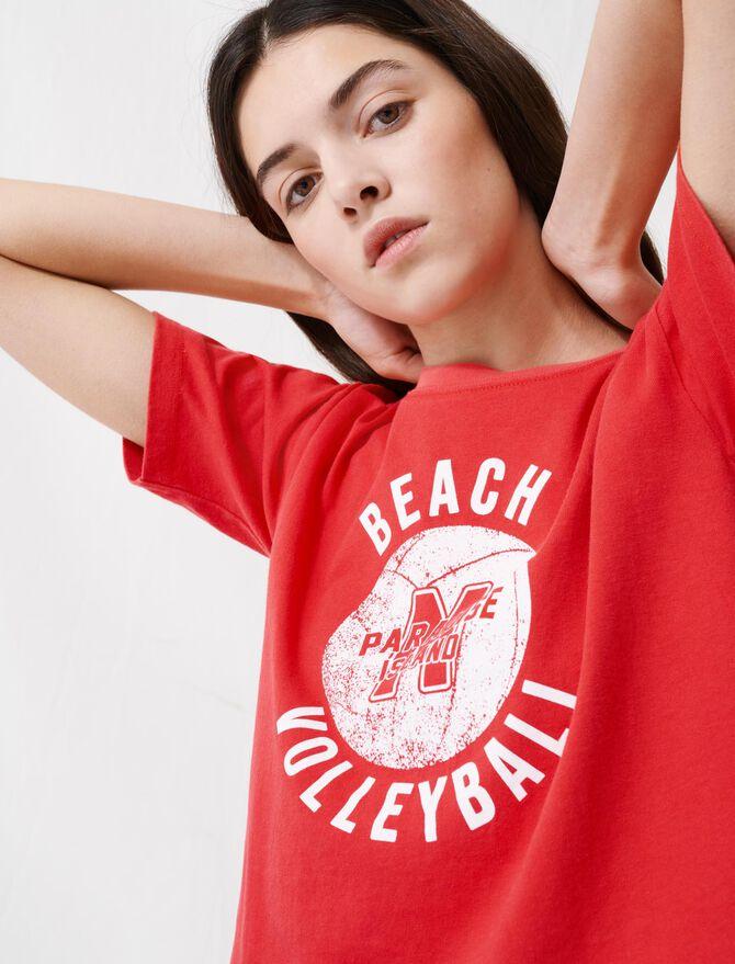 T-shirt rouge sérigraphie façon vintage - T-Shirts - MAJE