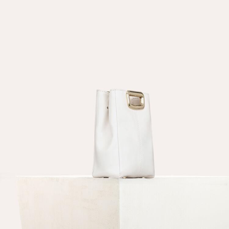 M Mini Skin en cuir et poignée métal : M Skin couleur BLANC