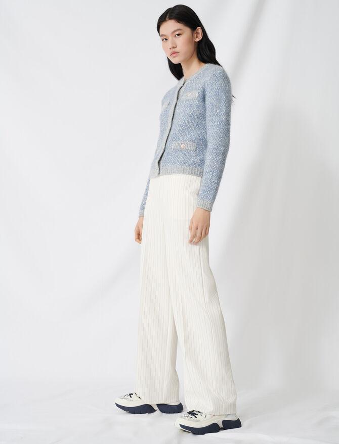 Pantalon palazzo à ceinture contrastée -  - MAJE