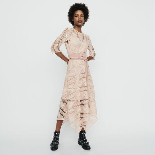 af9c0a4b3b4 Robe longue asymétrique en guipure