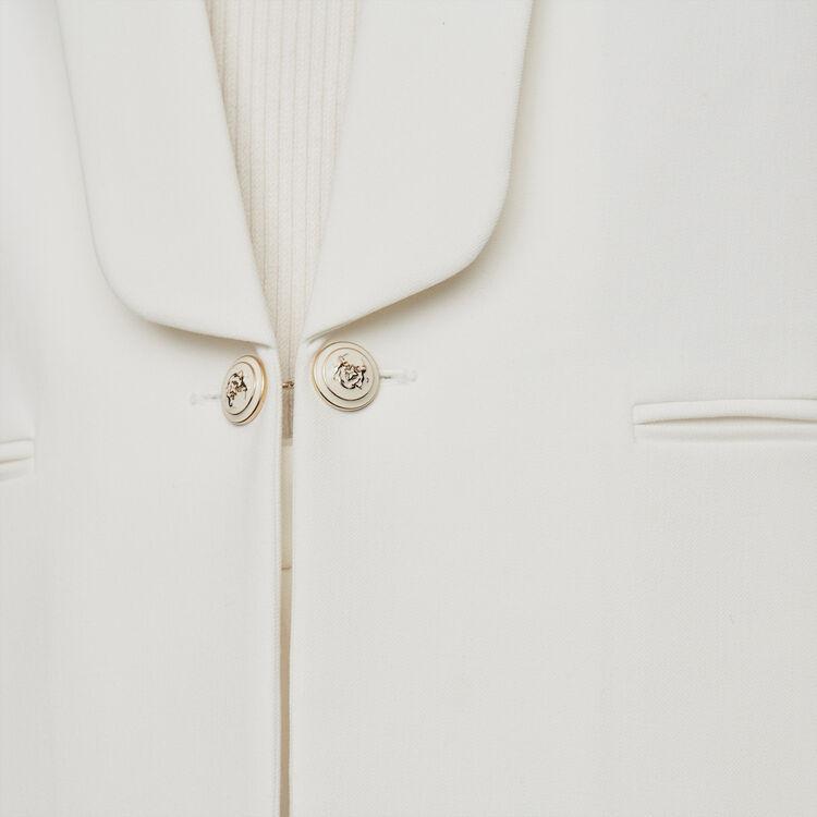 Veste droite col châle boutons chaîne : Vestes couleur ECRU
