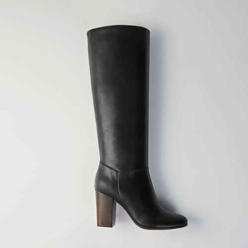 Bottes à talon en cuir lisse : Bottines & Bottes couleur Noir