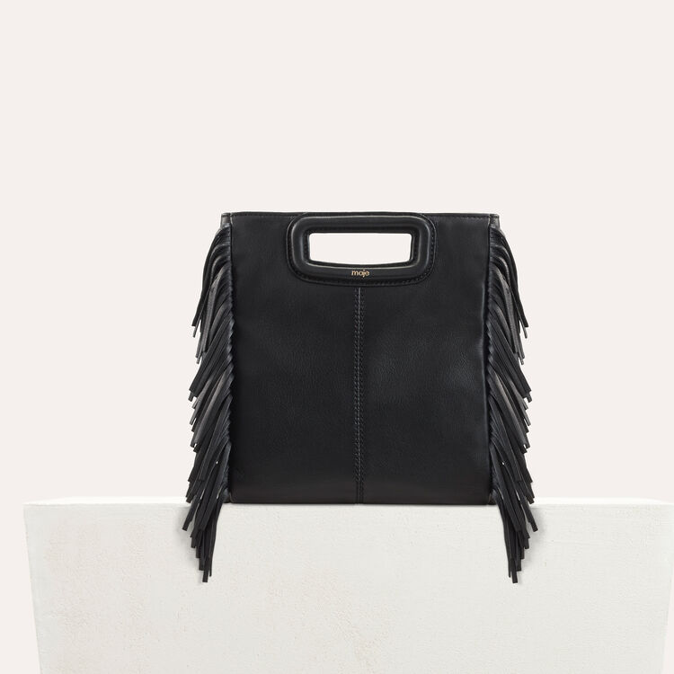 Sac M à franges en cuir : Nouvelle Collection couleur Black