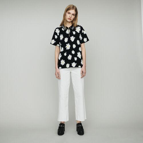 Polo en jacquard marguerite : Pulls & Cardigans couleur Jacquard