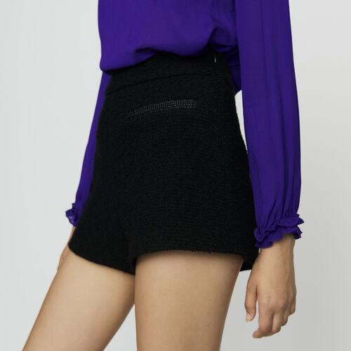 Short taille haute en tweed : Jupes & Shorts couleur Black