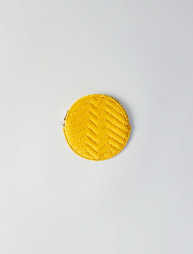 Porte-monnaie rond en velours matelassé - Petite maroquinerie - MAJE