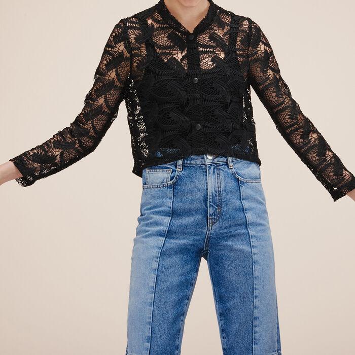 Veste courte en dentelle : Vestes & Blousons couleur BLACK