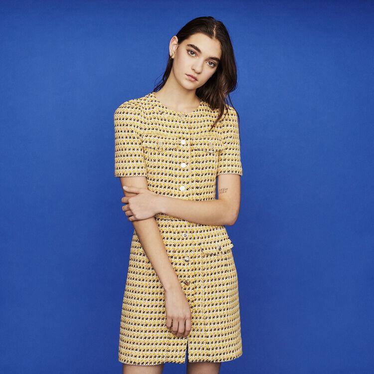 Robe courteà poches en tweed et lurex : New in : Collection Été couleur Jaune