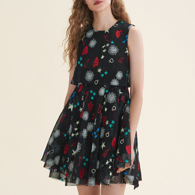 Robe en tulle avec broderies : Robes couleur MULTICO