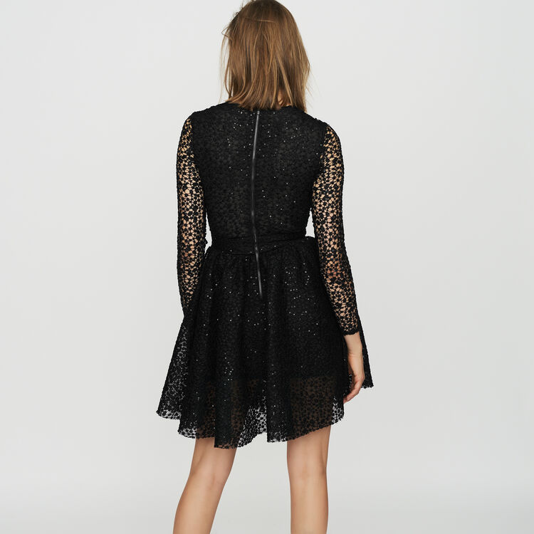 Robe patineuse à manches longues : Robes couleur Black