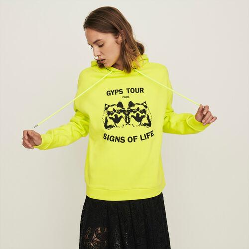 Sweat-shirt à capuche brodé : Collection hiver couleur Jaune