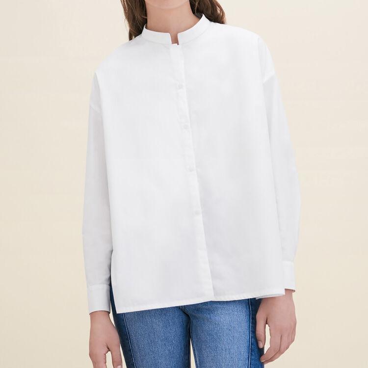 Chemise asymétrique en popeline : Tops couleur Blanc