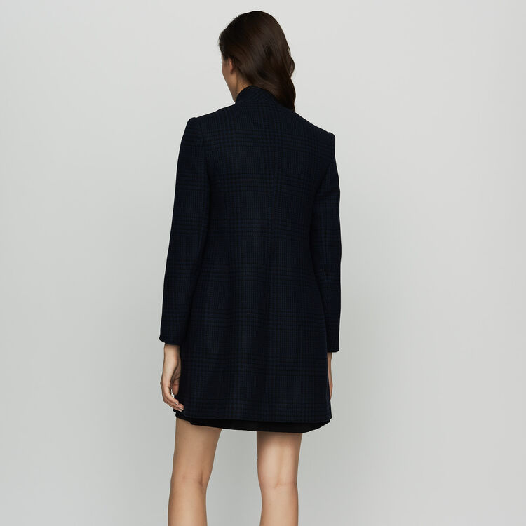 Manteau droit à carreaux : Manteaux couleur Marine