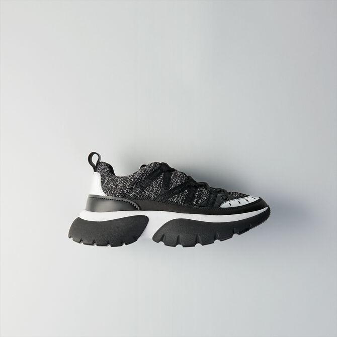 Sneakers W20 urbaines en cuir et lurex - Sneakers - MAJE