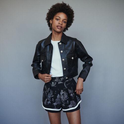 Veste courte en cuir : Blousons couleur Black