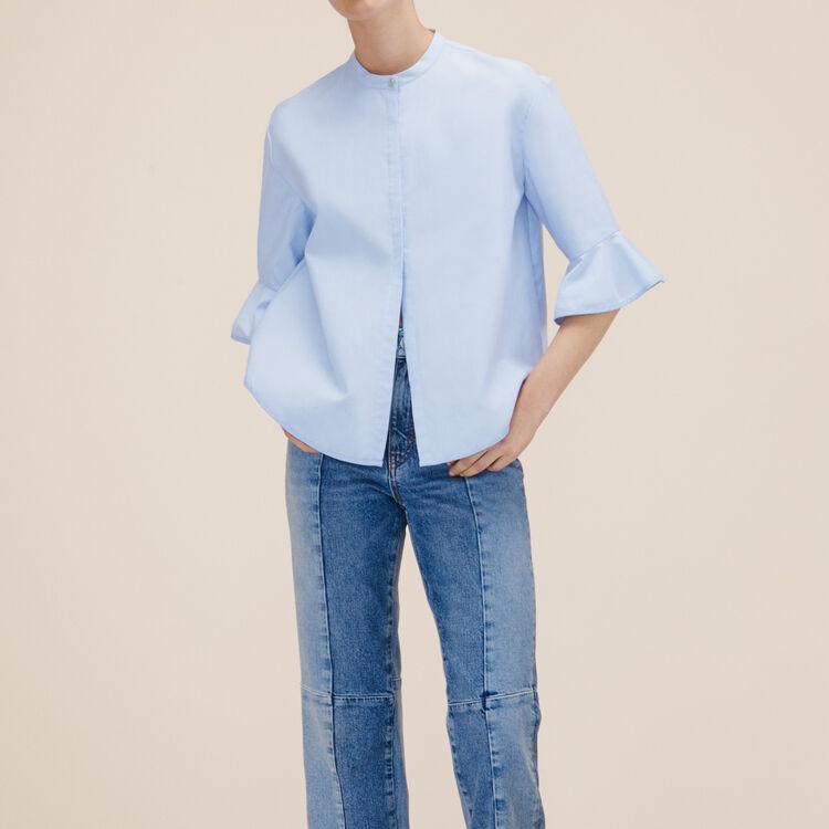 Chemise rayée en popeline - Chemises - MAJE
