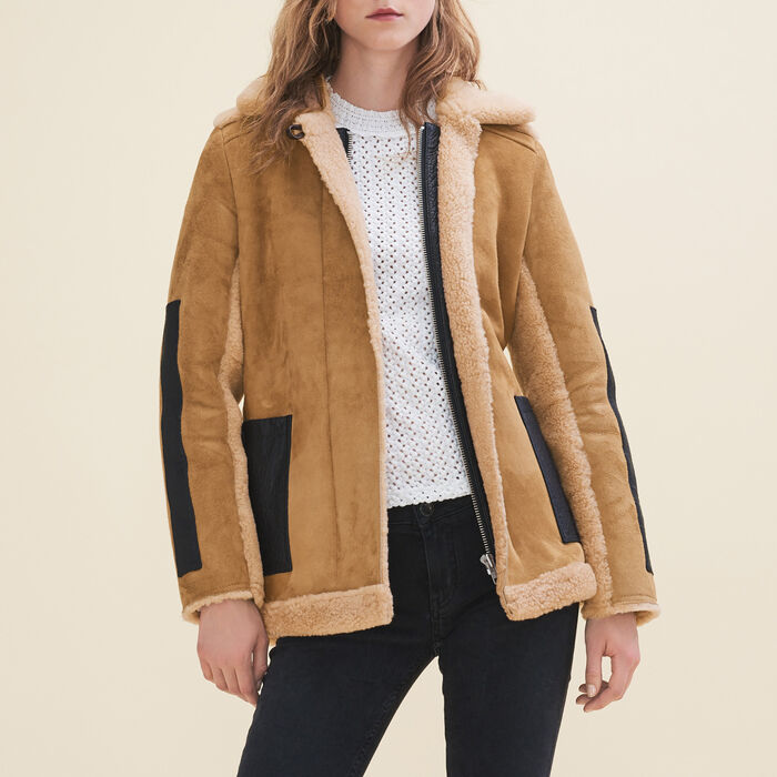 Manteau en peau lainée retournée -  - MAJE