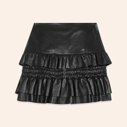 Jupe en cuir à volants - Jupes & Shorts - MAJE