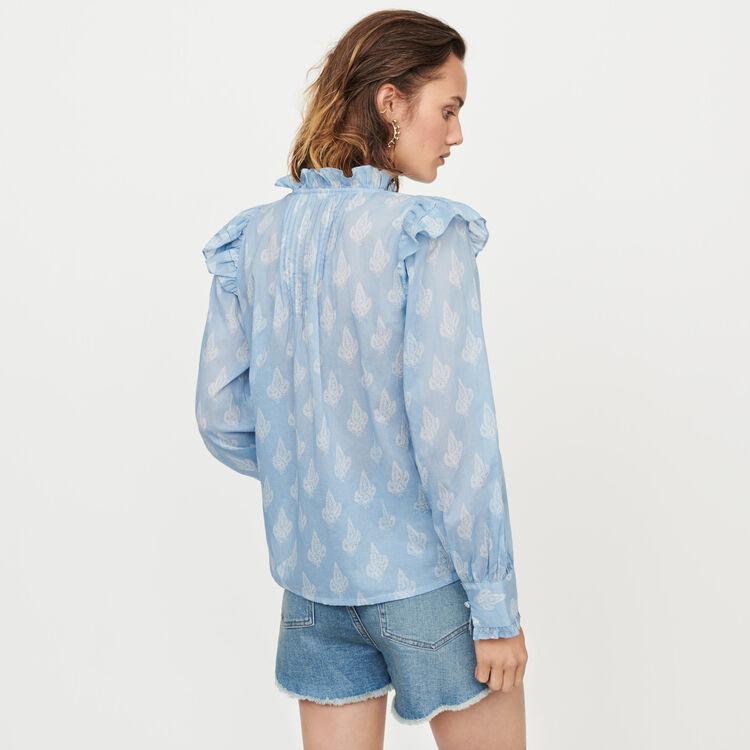 Top imprimé en voile de coton à volants : Tops & Chemises couleur Bleu