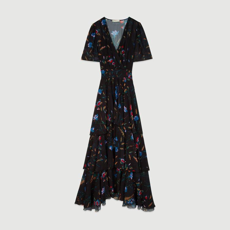 Robe longue imprimée à volants : Robes couleur BLACK