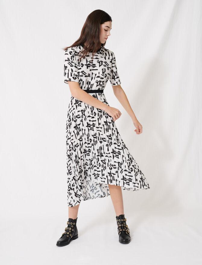 Robe à motifs et ceinture incrustée - Robes - MAJE