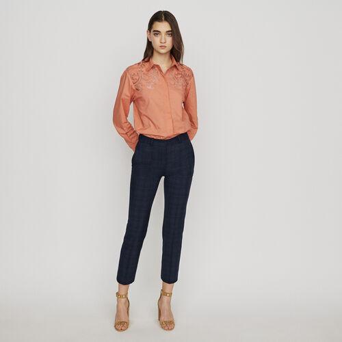 Pantalon 7/8 à carreaux fondus : Pantalons & Jeans couleur Marine