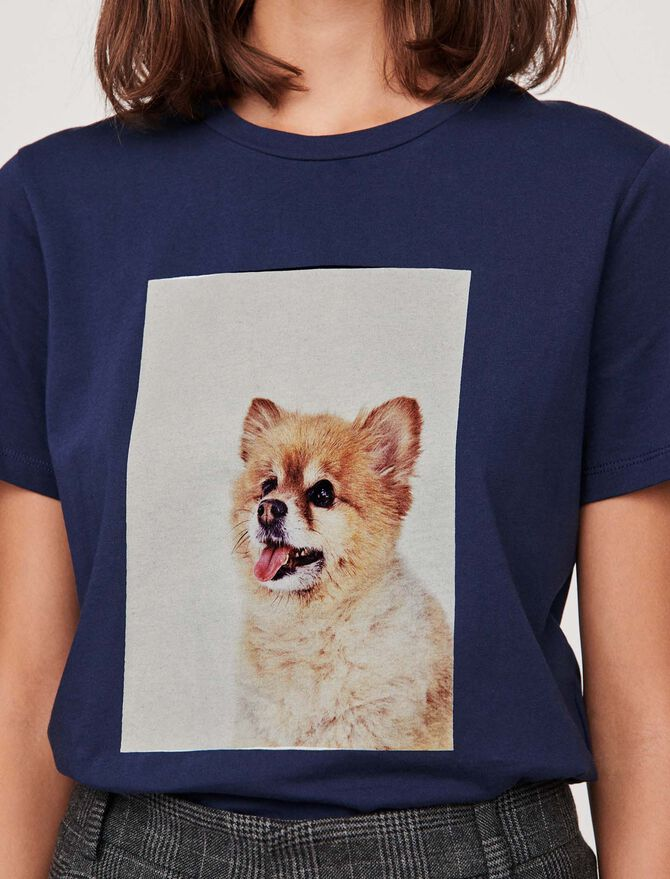 "Tee-shirt avec impression ""chien"" - T-Shirts - MAJE"
