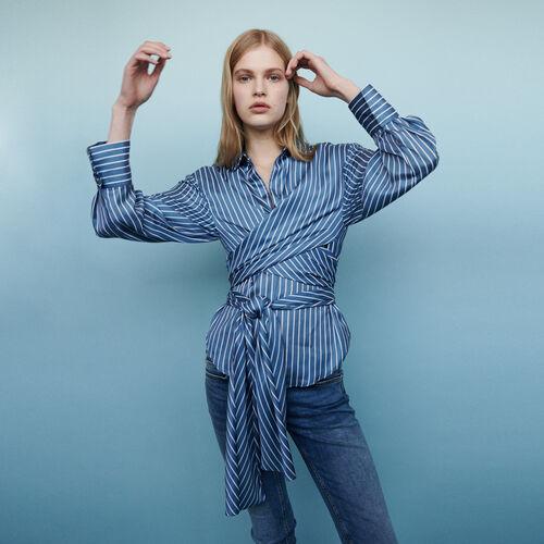 Chemise nouée à rayures : Chemises couleur Rayure