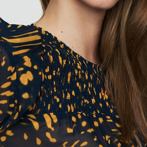 Top manches longues imprimé à smocks : Tops couleur IMPRIME