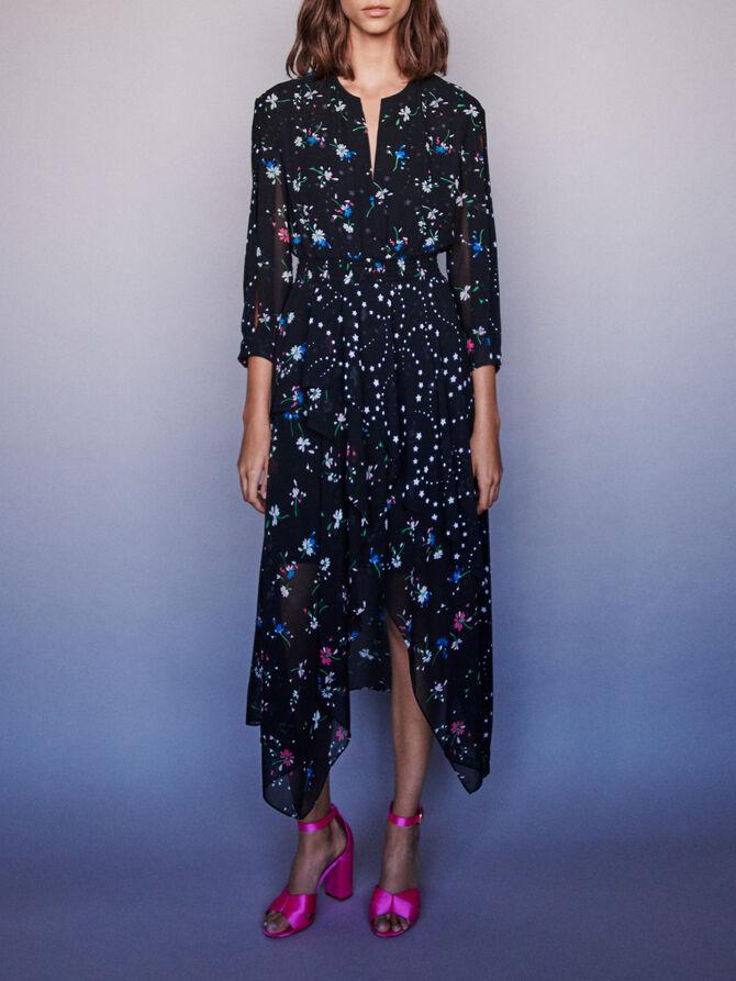 Robe-foulard en mix d'imprimés - Robes - MAJE