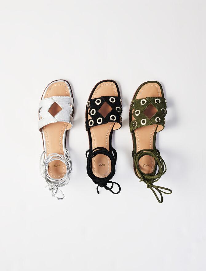 Sandales à nouer en suède à œillets - Nouveautés - MAJE