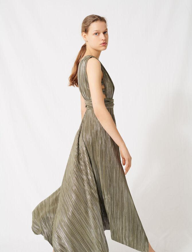 Robe recouverte de fils métallisés - Robes - MAJE