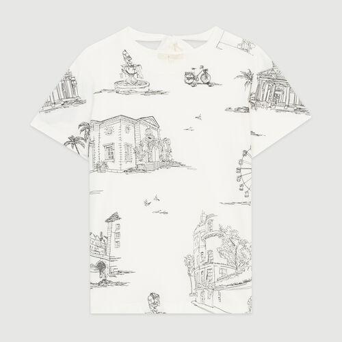 Tee-shirt à broderies Paris all-over : T-Shirts couleur Ecru