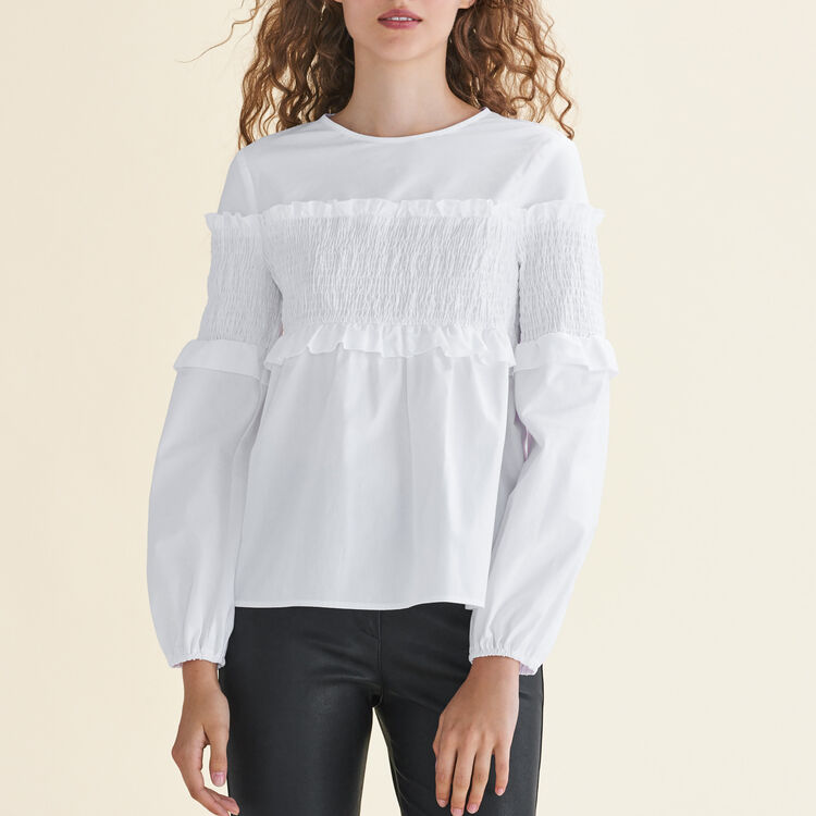 Top avec smocks en coton - Tops - MAJE