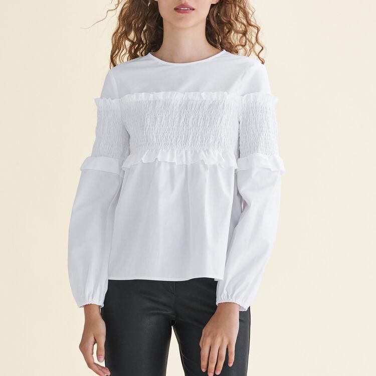 Top avec smocks en coton : Tops couleur Blanc