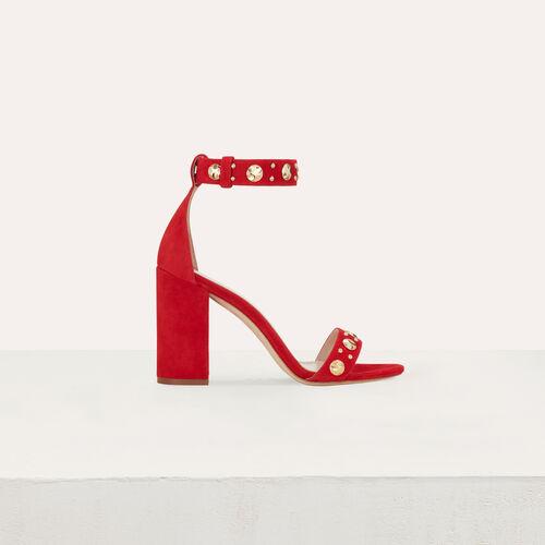 Sandales en suède à talon : Escarpins couleur ROUGE