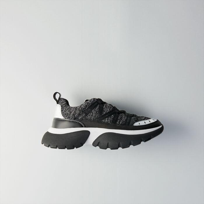 Sneakers W20 urbaines en cuir et Lurex : Sneakers couleur Noir  Lurex Argent