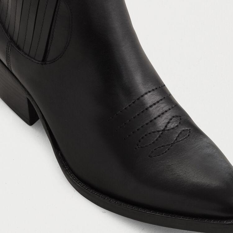 Bottines en cuir à découpes western : Bottines & Bottes couleur Black