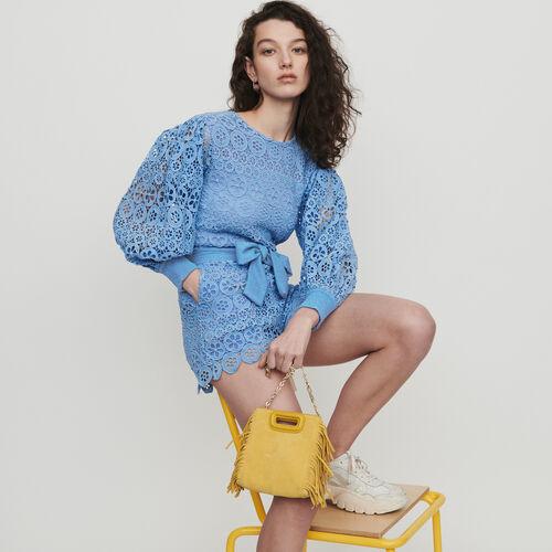 Combinaison short en guipure marguerites : Jupes & Shorts couleur Bleu