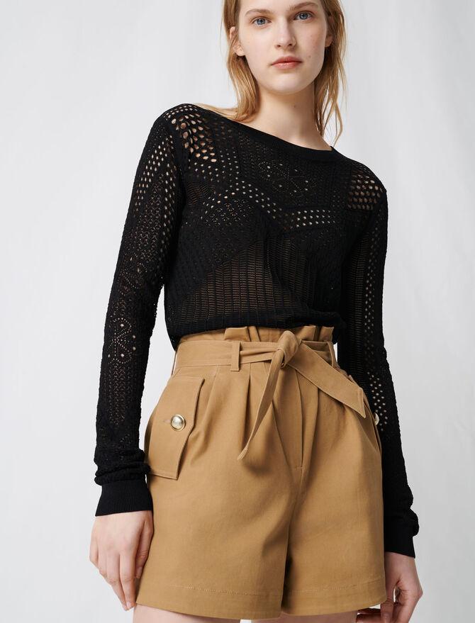 Short en toile de coton camel ceinturé - Jupes & Shorts - MAJE