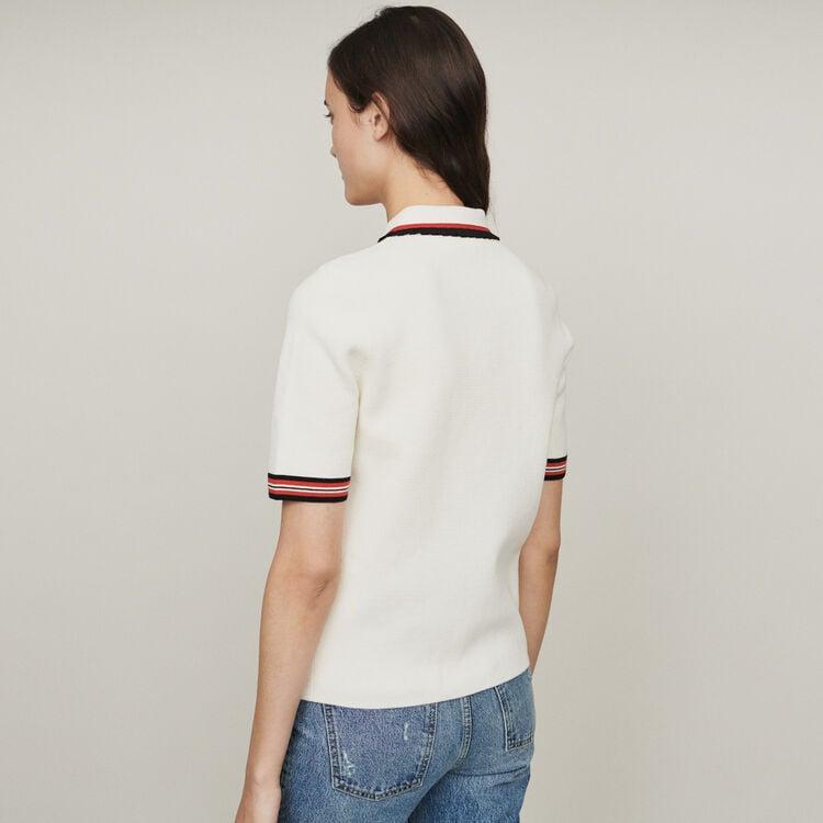 Polo en maille bloquée : Pulls & Cardigans couleur ECRU