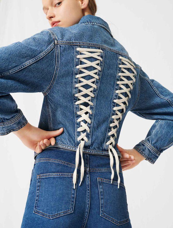 Blouson en jean lacé au dos façon corset - Manteaux & Blousons - MAJE