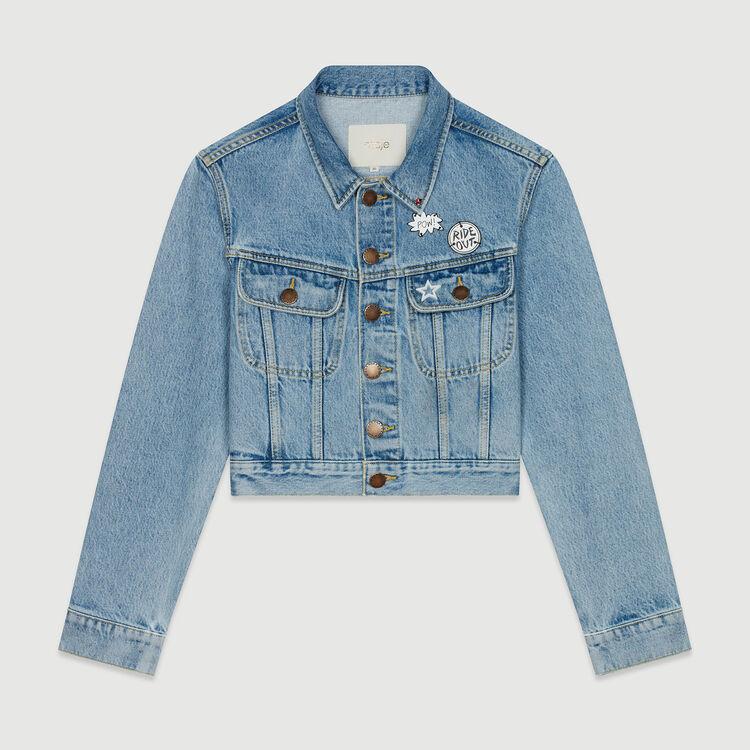 Veste courte en jean avec pins : Vestes couleur Denim