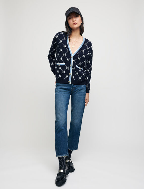 Cardigan en jacquard nœuds contrasté - Pulls & Cardigans - MAJE