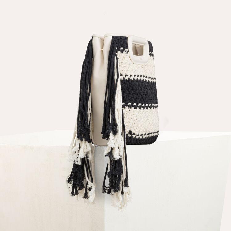 Sac M en cuir et maille bicolore : Sac M couleur Black
