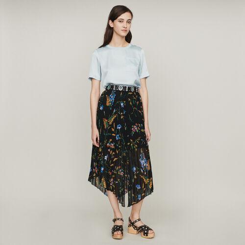 Jupe plissée imprimée : Jupes & Shorts couleur BLACK
